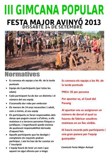 Cartell de la Gimcana Popular de la Festa Major d'Avinyó